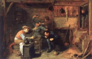 Adriaen Brouwer.peasants_fighting