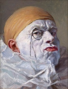 Armand Henrion, Self Portrait, Clown with Monocle 1920