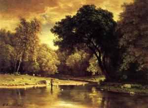 George Inness.Fisherman in a Stream