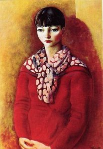 Moise Kisling.Kiki-de-Montparnasse-Red-Dress