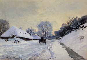 cl.monet.Cart_on_Snow_Covered_Road1865