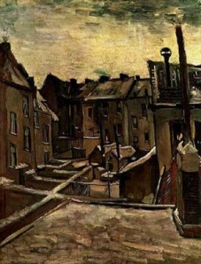 Vincent van Gogh.backyards_old_houses_sonw1885