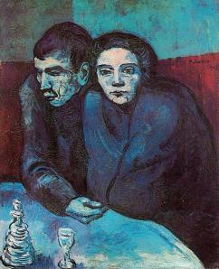 Man and woman in cafe. Picasso