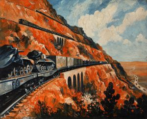 Mountain_railway_transporting_tanks.Roland_Davies1939-1946