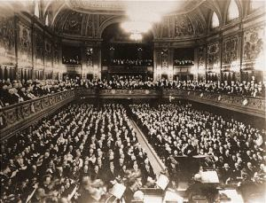 Adolf Hitler (front row on aisle) Wagnerian conductor, Dr. C. Muck-Leipzig Orchestra