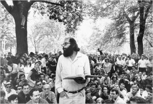 Allen Ginsberg reads poetry crowd Washington Square Park1966