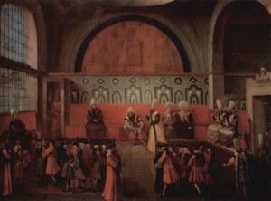 Jean-Baptiste_van_Mour1724.  Ahmed III.Grand Vizier Ibrahim Pasha-   Vicomte d'Andrezel French Ambassador Sublime Porte