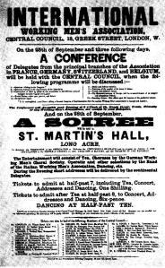 Leaflet programme London Conference International Working Men's Association1865