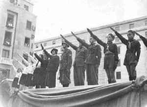 Italian Youth Fascist Salute Mussolini