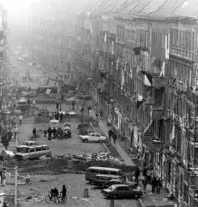 Mainzer Street Friedrichshain -Berlin November 1990 street battle over occupied houses