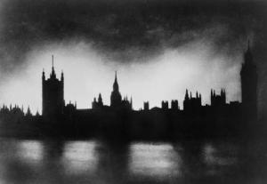 19th neo-Gothic Palace Westminster banks Thames bomb blasts during Blitz WWII