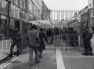 British soldiers checkpoint Belfast c1973