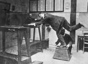 measuring feet of criminals- Bertillon method. anthropometry.police Paris1895