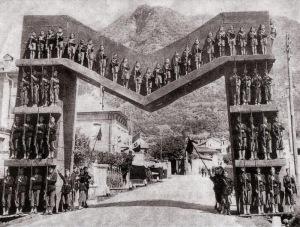 Mussolini -M- village in Piemonte 1928