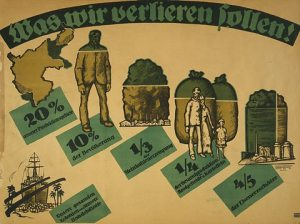 What we will lose 1919 German poster-20 production 10 population. a third of coal .quarter of bread wheat potato production. four-fifths iron -All our colonies merchant navy