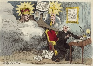 Atheistical-Revolutionist 1790. Gillray- caricature of Burke -Price