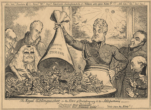 George Cruikshank-Royal Extinguisher- King of Brobdingnag Lilliputians 1821