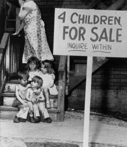 penniless mother children sale Chicago 1948