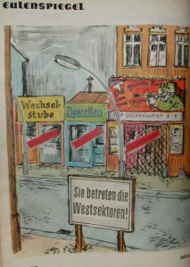 GDR-closed cheap movie theater money changer cigarette shop. Without East Germans to exploit they have gone bankrupt.1961
