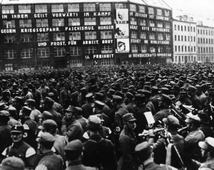Nazi Party members sympathisers - Communist Party headquarters Buelow Platz, Berlin- ceremony Nazi Horst Wessel1933