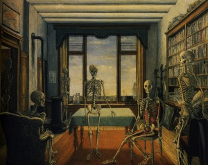 Skeletons in office - Paul Delvaux-1944