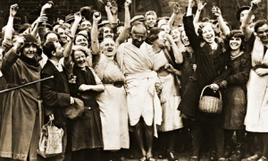 Mahatma Gandhi with Cheering Female Fans at Greenfield Mill, Darwen, Lancashire