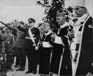 Croatian Ustashi fuehrer Ante Pavelic. Nazi. Archbishop Catholic Church