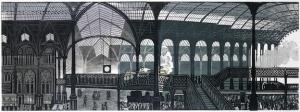 Edward Bawden 1903-1989 Liverpool Station. Linocut