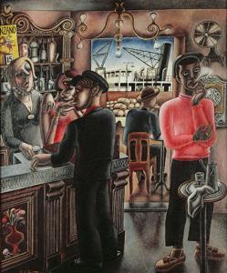 Edward Burra-Dockside Caf.Marseilles
