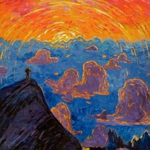 wenzel hablik-sunset.mont blanc1906
