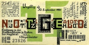 Wenzel Hablik. Notgeld (Emergency Money) Itzehoe Germany1921