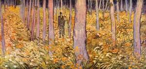 Couple walk woods- Van Gogh