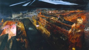 Richard Eurich - Night Raid Portsmouth Docks 1941